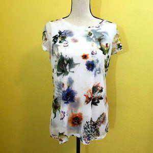 Vera Wang Large Bloom Layered Tee Shirt